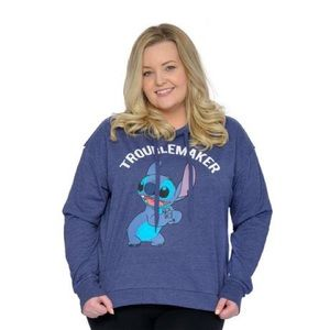 """Disney Lilo and Stich """"Troublemaker"""" Hoodie Sweater Pullover Blue White 2X"""